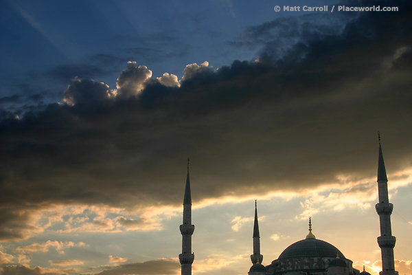 dramatic sky above mosque