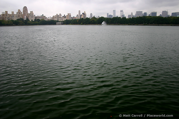 New York skyline and reservoir