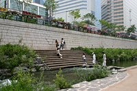 Cheonggyecheon, a restored stream and public walkway