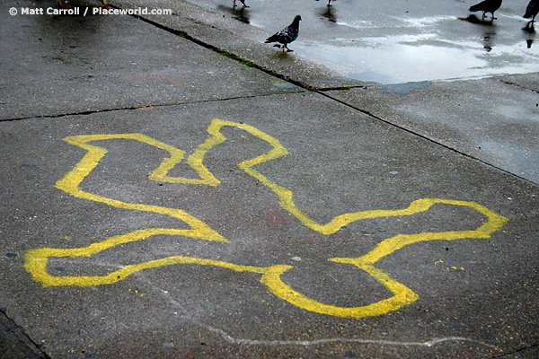 Chalk Outline Memorial to a Student Protester